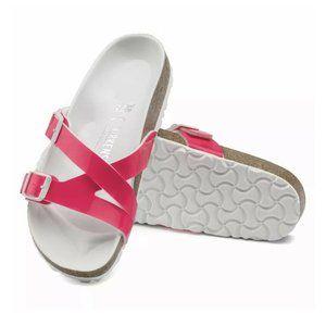 Women's Birkenstock Neon Pink Patent Leather Yao